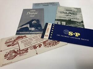 1950 Southern Pacific Shasta Daylight Trip Brochure 1960 SP Ticket Fort Ord Trip