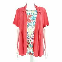 Gerard Faux 2 Piece Top & Cardigan Short Sleeve Pink Floral