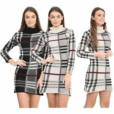 New Ladies Polo Neck Long Sleeve Tartan Check Knitted Bodycon Jumper Midi Dress