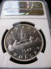 **1947 Pointed 7**, NGC Graded Canadian Silver Dollar **MS-63**