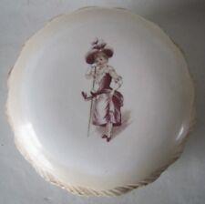Large Antique Porcelain Powder Vanity Jar Box Victorian Girl Shell Edge