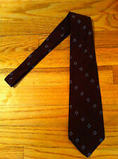 men's vintage necktie dark reddish brown tie blue squares Unknown Maker diamond