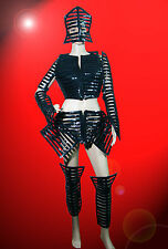 Black Lady Gaga Roman Robot with mask sequin unisex costume drag queen showgirl