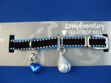 Cat Collar - Diva Velvet Stitch Blue with Safety Elastic & Teardrop Bell
