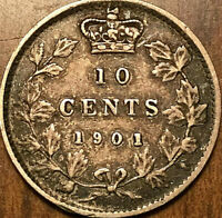 1901 CANADA SILVER 10 CENTS SILVER DIME - Excellent example!
