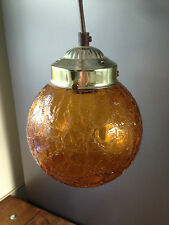 LOVELY VINTAGE MID CENTURY Appesa Luce Ambra Crackle Glass SFERA GLOBO Shade