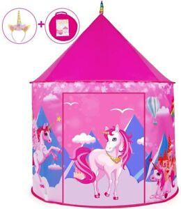 Tienda Campaña Princesa Unicornio Para Niñas Casa Castillo De Juego Rosa Carpa