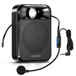 Portable Voice Amplifier Speaker W/ Headphone Headset Black For Coaches Training