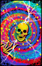 SPIRAL SKULL - BLACKLIGHT POSTER - 24X36 FLOCKED 2004
