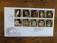 GREAT BRITAIN 2018 OWLS SET 10 STAMPS FDC-  HOOTON