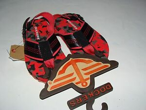 Dockers Boys Toddler Sandals Flip Flops Size S 5-6 NEW Black Orange Camo