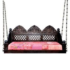 Ceiling Swing with arms & back Solid Wooden Jhula Handmade Carved Brown finish