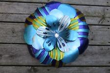 FLOWER WALL ART METAL DECOR MODERN RETRO HOME DECOR  NEW BLUE TONES 16 IN.