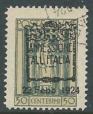 1924 FIUME USATO ANNESSIONE ALL'ITALIA 50 CENT - F6.5