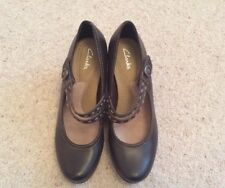 Ladies Clarks Brown Leather Mary Jane Shoes - UK6