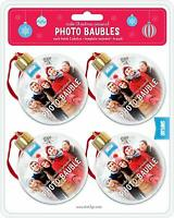 Shot2go Pack of 4 Christmas Photo Baubles/Ornaments/Decorations. Each holds 2 x
