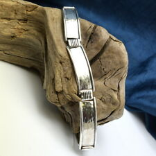 Men's large bracelet sterling silver hammered bangle link bracelet for man