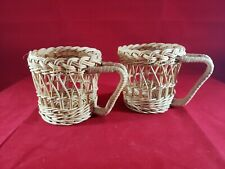 """Lot of 2 Vintage Wicker Rattan Short 3.5"""" Cup Glass Holder Picnic Outdoor"""
