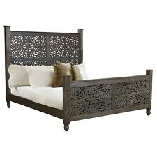 MADE TO ORDER Hand carved Indian Solid wood panel bed frame 2 tone brown QUEEN