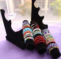 New 3 Tiers Black Velvet Jewellery Bangle Bracelet Watch Display Stand T Bar UK