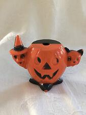 Vintage Hard Plastic Halloween  JOL w/WITCH & Black CAT Sucker Holder
