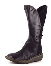 Dr. Martens Womens UK 3 EU 36 Black Leather & Suede Mid Calf Low Heel Used Boots