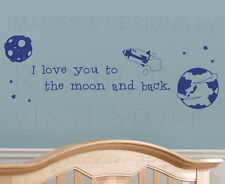 I Love You to the Moon and Back Kids Nursery Baby Wall Decal Vinyl Art Quote A31