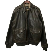 Avirex Flyer Pilot's A2 Leather Jacket Stars and Stripes Forever Brown Size XXL