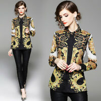2019 Spring Summer Fall Baroque Print Collar Long Sleeve Women Shirt Top Blouse