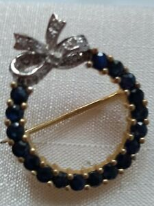 Beautiful 9k Gold Brooch with sapphire and Diamond. Hallmarked.