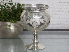 Chic Antique Pokal Windlicht auf Fuß Bauernsilber shabby Deko vintage Landhaus