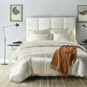 Satin Duvet Cover White Solid Color Twin/QueenKing Size Bedding Set 2/3pcs