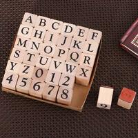 26 Alphabet Letters Stempelset + 10 Zahlen mit Holz Box DIY Geschenk