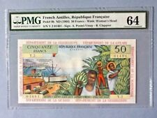 French Antilles P-9b; 50 Francs; ND(1964); PMG Graded 64