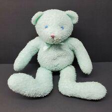 "Fiesta Teddy Bear Terry Cloth Cuddle Mint Green 12"" Rattle Plush Stuffed Animal"