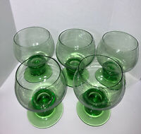 Set Of Five green wine glasses vintage Italy