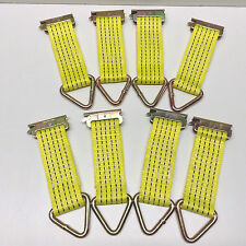 Set of 8 E-Track Clip Nylon Tie-Down Straps with D-Ring 2000 lb MBS Color Yellow