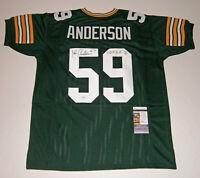 PACKERS John Anderson signed custom green jersey w/ PHOF96 JSA COA AUTO