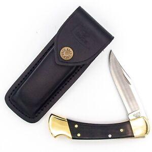 New 2018 BUCK USA Pocket Knife 110 FOLDING HUNTER LOCKBACK + Leather Sheath MINT