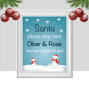 Santa Stop Here Print, Personalised Christmas Print, Xmas Stop Sign Kids Festive