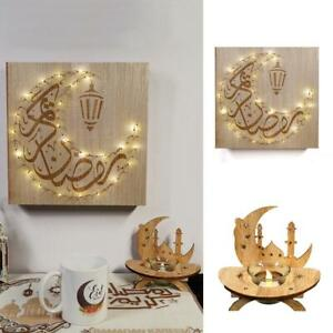 1xDIY Wooden Eid Mubarak Plaque Moon Star Ramadan Ornament Muslim Decor Pendants