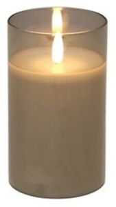 Led Pillar Candle Grey 12.5cm Tall Real Wax Glass Candle Holder