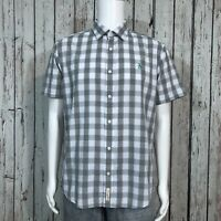 Pengiun Munsingwear Button Front Camp Shirt LARGE Classic Fit Gray White Plaid
