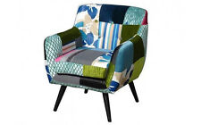 Upholstered Patchwork Armchair Living Room Furniture Vintage Tub Chair Wood Seat