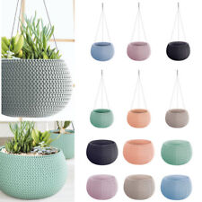 Pastel Lovely Design Hanging Flower Pot Planter-Home Office-Woven Knit Effect