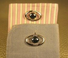 Mid Century Modern Cobalt Center Free Floating White Gold Plated Cuff Links