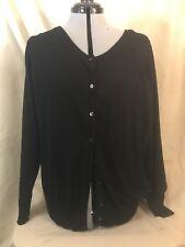 Lane Bryant Cardigan Sweater 22/24 Black Long Sleeve 8 Button Tight Knit
