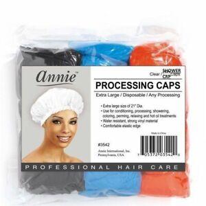 Annie 10 X SHOWER / BATH CAPS / PROCESSING CAPS Waterproof  MULTICOLORED / CLEAR