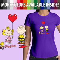 Girl Juniors Women Tee T-Shirt Peanut Charlie Brown Valentines Day Sally Cartoon