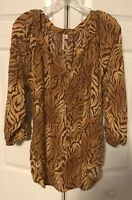 GRAND & GREENE Animal Print Blouse Shirt Top Brown Beige Lightweight Plus 1X